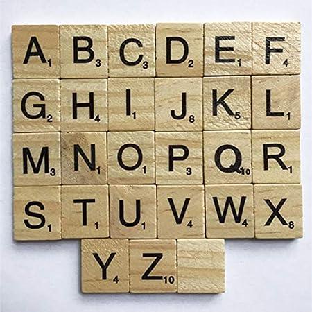 ZAMTAC - 100 Piezas de Madera de Alfabeto Scrabble Azulejos Letras Negras números Manualidades Figuras: Amazon.es: Hogar