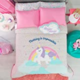 NEW PRETTY COLLECTION UNICORN KIDS GIRLS REVERSIBLE COMFORTER SET,SHEET SET AND EMBROIDERED WINDOWS PANELS 8 PCS TWIN SIZE