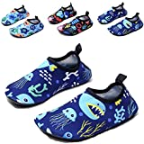 QTMS Boys Girls Water Shoes Barefoot Quick Dry Aqua Socks Kids Swim Shoes (Toddler/Little Kid/Big Kid)-11Blue-28