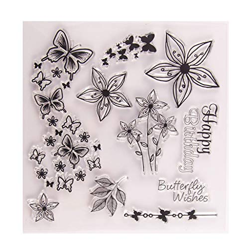 Butterfly and Flower Silicone Clear Stamp Seal DIY Scrapbook Embossing Album Decor Craft Art