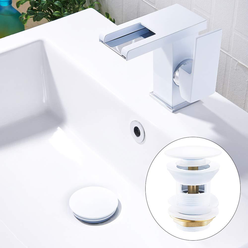 Wei/ß Ablaufgarnitur f/ür Waschtisch Waschbecken Pop Up Click Clack Ventil Ablaufventil mit /Überlauf