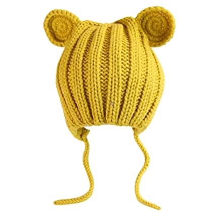 f37e2455706 Flyhigh Hat born Infant Baby Winter Warm Thicken Ribbed Knitted Hat Crochet  Cute Bear Cat Spiral Ears Solid Color Earflap Beanie Cap  Amazon.co.uk   Kitchen ...