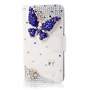 ACC5Star(TM) Extreme Deluxe Bling Diamond Magnetic Flip Stand Slot Card Leather Case For Samsung Galaxy S2 II T989 T-mobile Phone + High Quality Random Color Stylus With LOGO + 10*15 CM Green Soft Clean Cloth With LOGO (White_Blue_Buterfly)