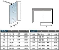 50x200cm Mampara ducha Panel Pantalla Fija cristal 8mm templado para baño: Amazon.es: Bricolaje y herramientas