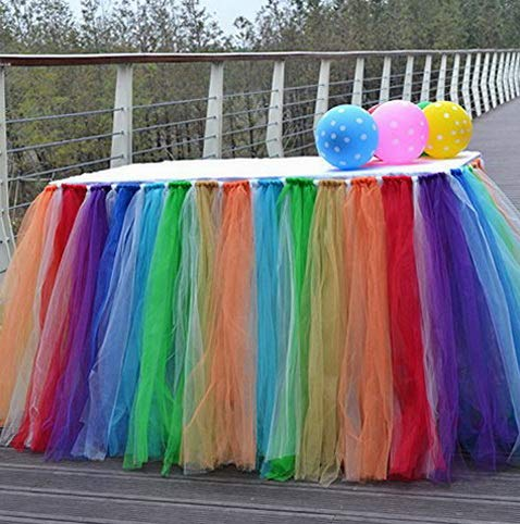 Kaputar Tutu Tulle Table Skirts for Rectangle & Round Tables Shower Decoration Table Cover Cloth for Christmas Parties Decor- Rainbow/Multi-Coloured | Model WDDNG -