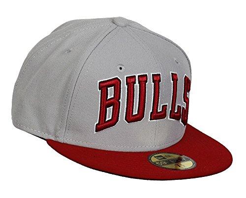 Chicago Bulls NBA Team Wordmark Grey / Red New Era 59Fifty Fitted Baseball Cap