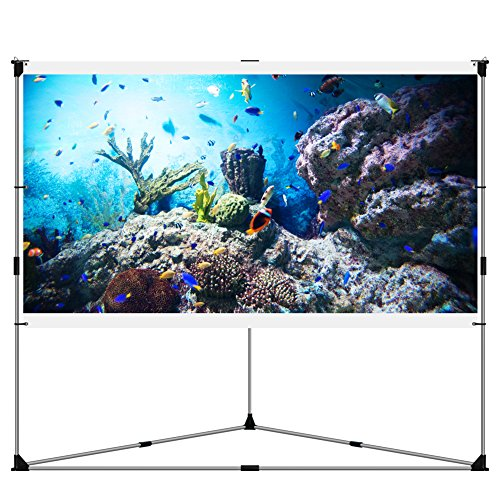JaeilPLM 100-Inch 2-in-1 Portable Projector Screen, Outdoor Indoor Compatible with Triangle Stand or Hanging...