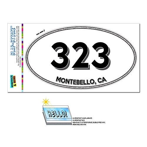Graphics and More Area Code Oval Window Laminated Sticker 323 California CA Alhambra - Wilmington - - Montebello Ca