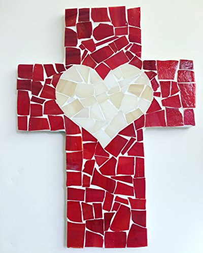 9 inch X 6 inch Handcrafted Mosaic Red with Ivory Heart Wall Cross