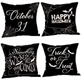 Everydlife 4 Pieces Wicked Halloween Pillow Case Throw Cushion Cover Cotton Linen Pillow Decor, 18x18 inches