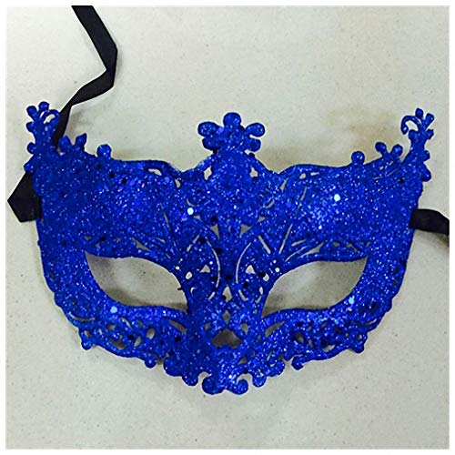 Womens Mask 1Pc Masquerade Performance Half Face Fox Sequin Lace Mask Princess Venice Mask Halloween Christmas Party Ball Mask Blue