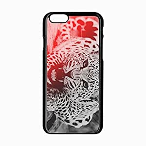iPhone 6 Black Hardshell Case 4.7inch leopard aggression teeth face Desin Images Protector Back Cover