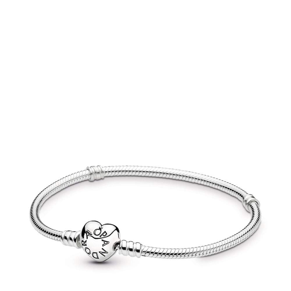 PANDORA Silver Charm Bracelet with Heart Clasp, Sterling Silver, 8.3 in by PANDORA