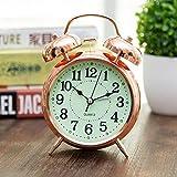 Brandream Small Rose Gold Silver Double Bell Alarm Clock