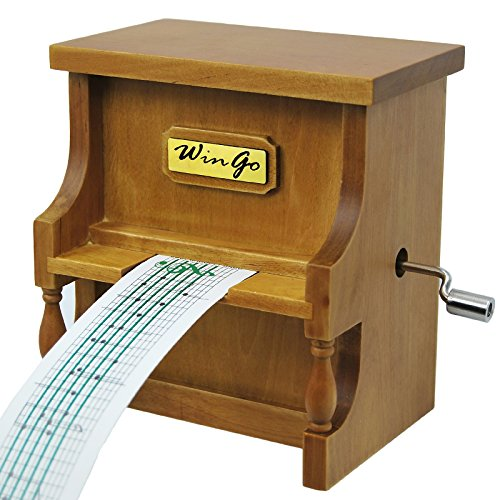 Music Box Musical Antique Vintage Wooden Piano,Double Movement, DIY Hand Crank 15 Note Make You Own Song with Tool Kit & 18 Note Wind-up(Tune:Fur Elise) - Antique Vintage Sheet Music