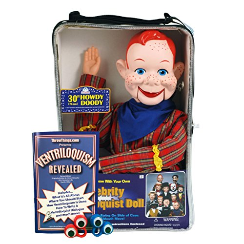 ThrowThings.com Bonus Bundle! Howdy Doody Ventriloquist Dummy Doll PLUS Ventriloquism Revealed Booklet PLUS Two Finger -
