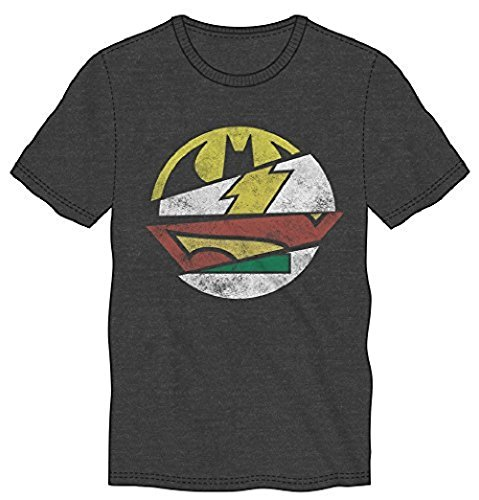 DC Comics Split Logos Mens Grey T-shirt Batman Flash Superman (Large)