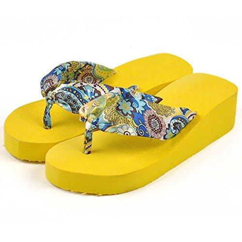 TOOGOO(R) Sommer Boehmen Blume Frauen Flip Flops Plattform Keile Frauen Sandalen Plattform Flip Pantoffeln Strand Schuhe US Groesse 5 beige Gelb