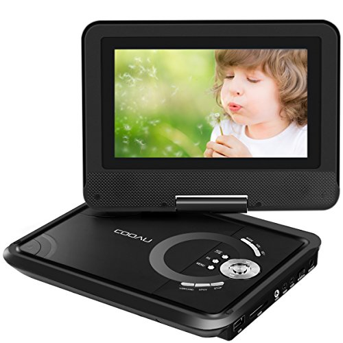 """COOAU 9.8"""" Portable DVD Player with Swivel Screen, 5 Hour Rechargeable Battery, Support USB/SD Card, Direct Play in Formats MP4/AVI/RMVB/MP3/JPEG, Black"""