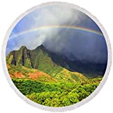 Pixels Round Beach Towel With Tassels featuring ''Kalalau Valley Rainbow'' by Kevin Smith