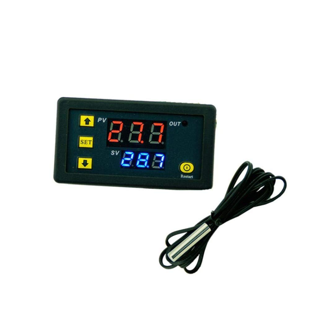Rlorie Termostato Digital, 12V / 24V / 220V Digital Display LCD Sensor Controlador de Temperatura Termostato