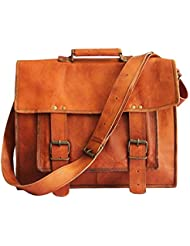 18 Inches Brown Leather Cross-body Messenger Bag/ Leather Laptop Bag for Men/women
