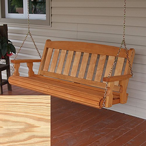 Amish Heavy Duty 800 Lb Mission Treated Porch Swing with Hanging Chains (5 Foot, Unfinished)