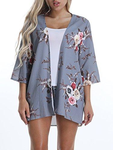 VYNCS Women's Floral Print Cardigan Half Sleeve Flowy Chiffon Loose Kimono Capes (Grey, Large)