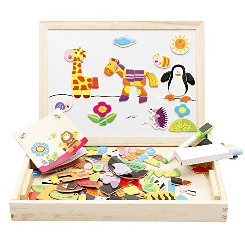 Lewo Wooden Educational Toys Magnetic Art Easel Animals Wood