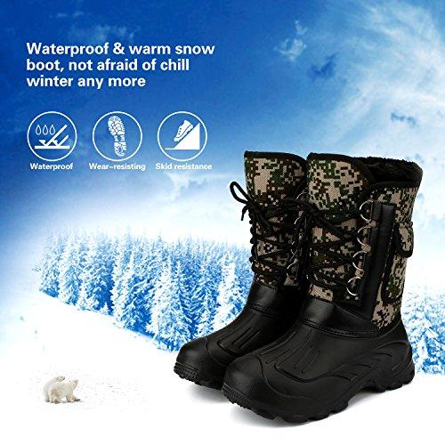 Mens Waterproof Rain Boot Mid Calf Winter Snow Warm Boots Garden Fishing Outdoor Shoes Camouflage kgGfVwM