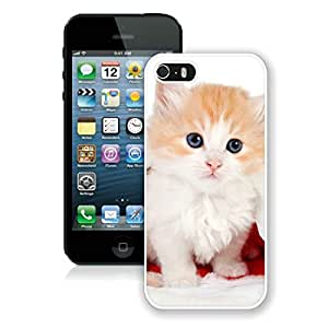 Custom-ized Iphone 5S Protective Cover Case Christmas Cat iPhone 5 5S TPU Case 20 White