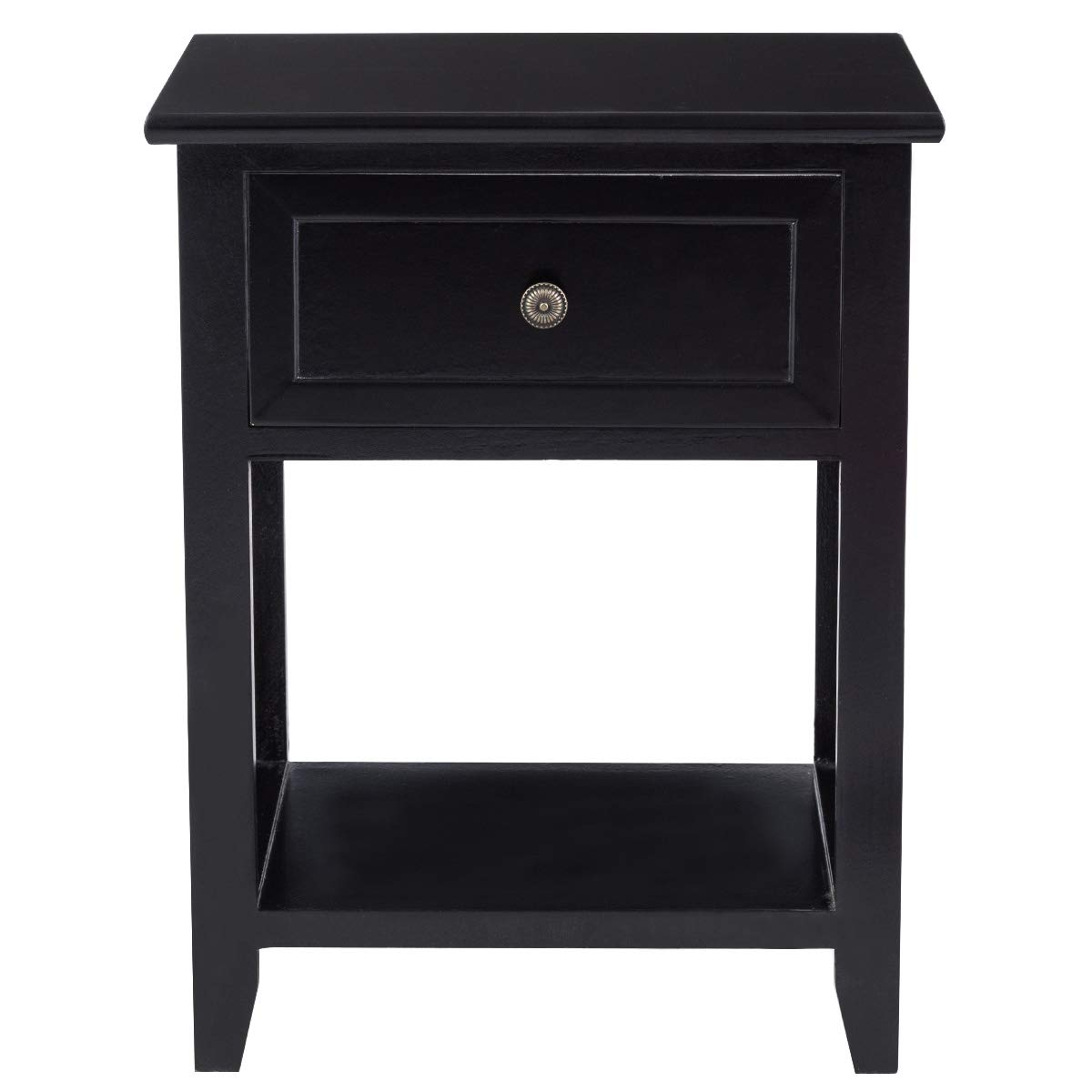 Giantex 2 Pcs Nightstand End Bedside Table Home Bedroom Furniture X-Shape W/Bottom Open Shelf Drawer, Black by Giantex (Image #7)