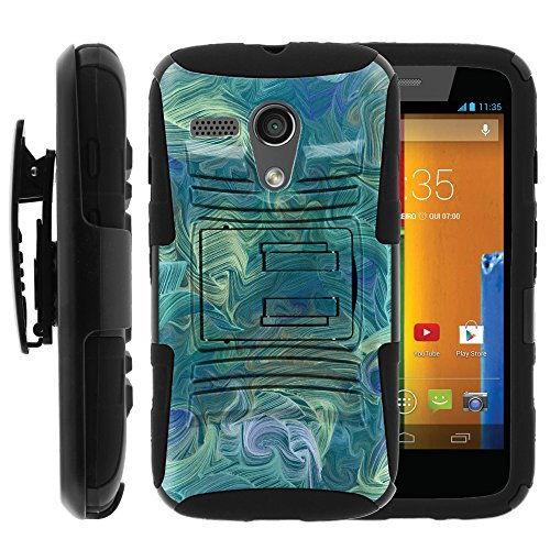 Moto G, Motorola Moto G Belt Clip, Dual Layer Hybrid Armor Hard Cover with Built in Kickstand and Dazzling Designs for Motorola Moto G XT1032 (Verizon, Boost Mobile, Sprint, US Cellular, Cricket) from MINITURTLE | Includes Screen Protector - Twisted Arctic