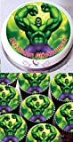 Hulk 1x 19 cm & 12 x 3.8 cm rond fondant glaçage topper gâteau comestible et imprimé avec votre message d'accueil personnalisé (Pack anniversaire)