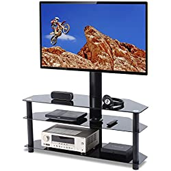TAVR Swivel Floor TV Stand with Mount,3-in-1 Flat Panel Entertainment Stand for 32 37 42 47 50 55 60 65 inch Plasma LCD LED QLED Flat or Curved Screen TVs TW1002