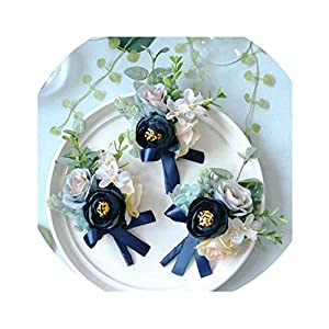 Artificial Silk Rose Flower Groom Boutonniere Man Wrist Corsage Women Hand Wedding Flowers Party Decoration 96