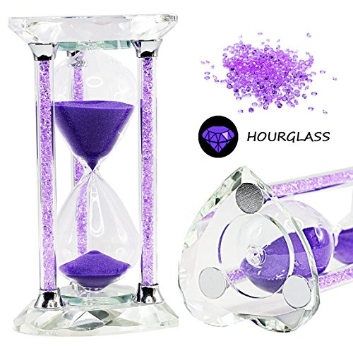 SZAT Romantic Crystal Diamond Sandy Clock, Purple Heart (30-Minutes) - Heart Desk Clock