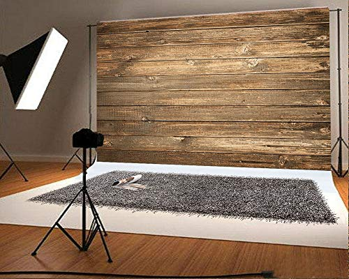 (7ft(W) x5ft(H)(220x150cm) Retro Wooden Wall Background for Photo Studio Booth Prop Light Brown Wood Photography Backdrops Fabric Backdrop Without Wrinkle)
