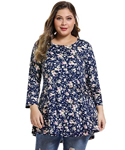 (MONNURO Womens 3/4 Sleeve Casual Loose Fit Swing Plus Size Tunic Tops Basic T Shirt(Floral03,3X))