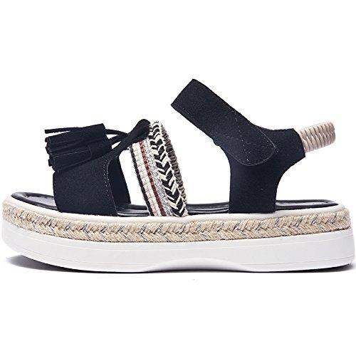 Nuevo Señoras señoras SOHOEOS moda de la Velcro Mujer Negro casual para Roma Sandalias Señoras Plataforma verano wXUUAtq
