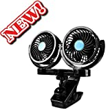 Dual Head 12V Electric Car Fan, AFTERPARTZ HX-02 360 Degree Rotatable Car Auto Cooling Air Circulator Fan for Truck SUV RV Boat Auto Vehicles