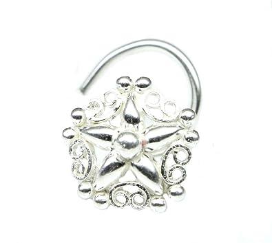 Buy Indian 925 Sterling Silver Nose Stud Corkscrew Piercing Nose