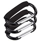 Set of 3 Stroller Hooks - Aluminum Carabiner Stroller Clips for Baby Strollers, Black - 5.5 x 3.2 x 0.3 Inches