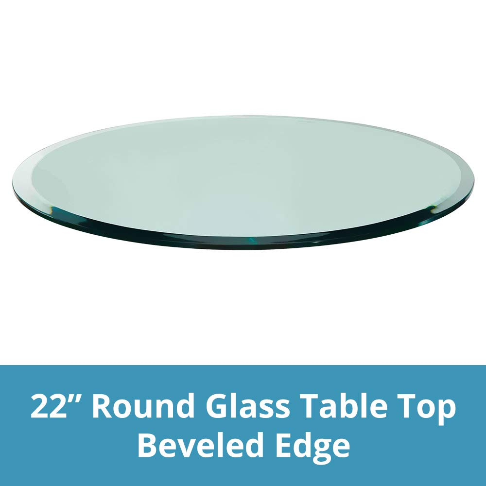 TroySys Round Glass Table Top Clear Tempered 1/2 Thick Glass with Beveled Polished Edge for Dining Table, Coffee Table, Home and Office Use, 22'' L