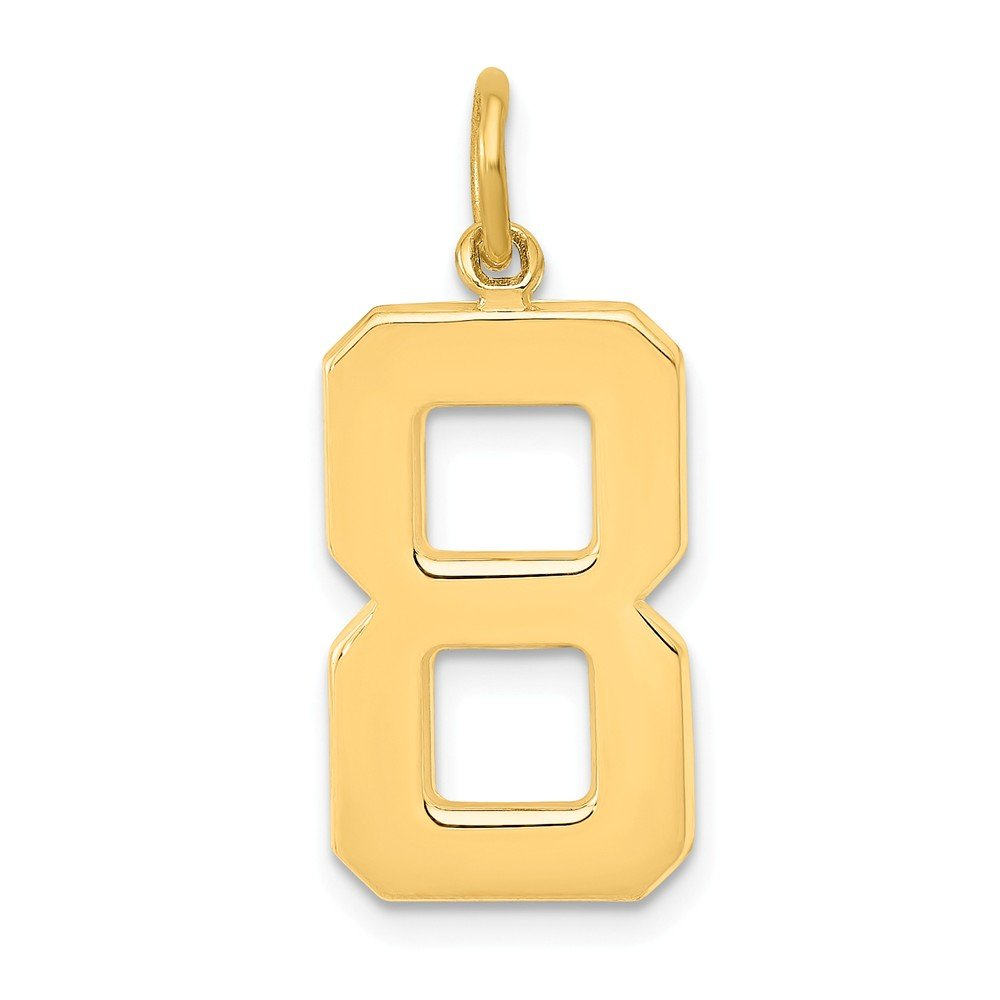 14k Yellow Gold Casted Large Polished Number 8 Charm