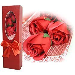 Rose Bouquet in a Box - Set of 5 Red Scented Soap Roses - Gifts for Her - Red Gift Box with a Bow