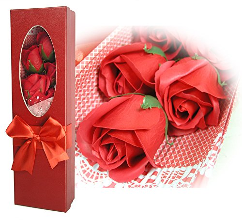 BANBERRY DESIGNS Rose Bouquet in a Box - Set of 5 Red Scented Soap Roses - Gifts for Her - Red Gift Box with a ()