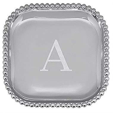 The original PEARLED 10in SQUARE PLATTER Engraved -A- by Mariposa -