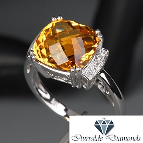 - 14k Large Cushion Cut Citrine Diamond Accent Pave Engagement Ring