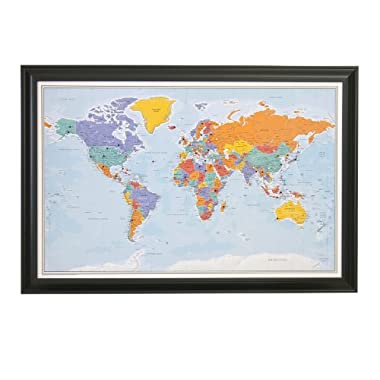 Push Pin World Travel Map with Frame and Pins- Blue Oceans 24X36 Black Frame